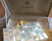 Vintage Evans Carry-All Compact Necessaire Clutch, Mother of Pearl Design, Comb, Lipstick, Mirror, Powder, Cigarette Holder, Original Box