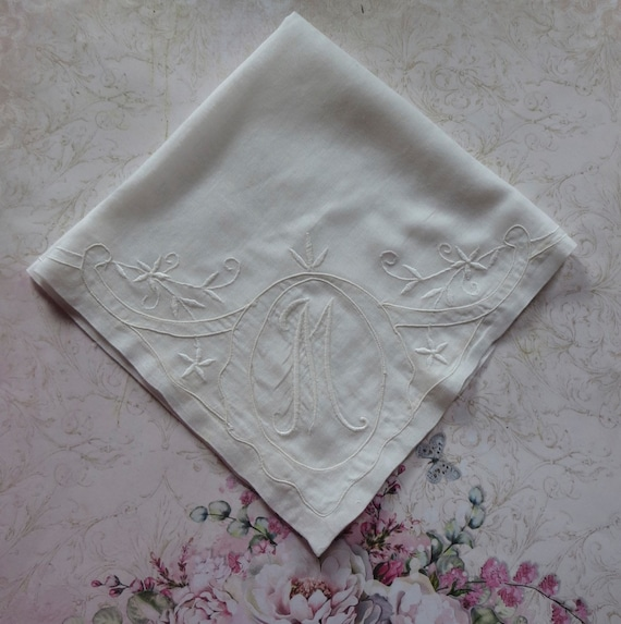 Handkerchief White on White Embroidered Floral