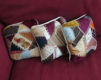 Vintage Crazy Quilt Pillows with Wonderful Shabby Chic Fabrics and Stitching and Cream Silky Back and Rope Edging, Smaller Size Pillow Decor