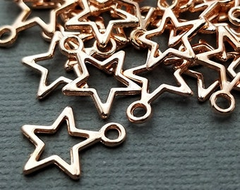 Small Rose Gold Star Charms rose goldtone, stars