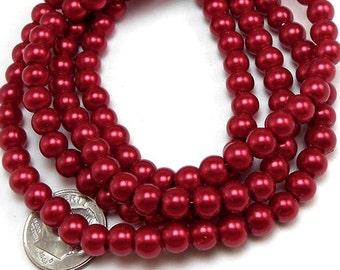 100 Dark Red Glass Pearl Beads 6mm round (H2196)