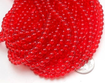 76 Translucent Red Glass Beads 5mm (H2778)