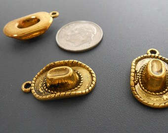 fa356b7caf3 8 Gold Cowboy Hat Charms goldtone metal (S741-cnt)