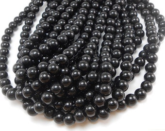 "25/"" STRAND OF BEAUTIFUL OLD SMALL BLACK VICTORIAN ANTIQUE CYLINDER GLASS BEADS"