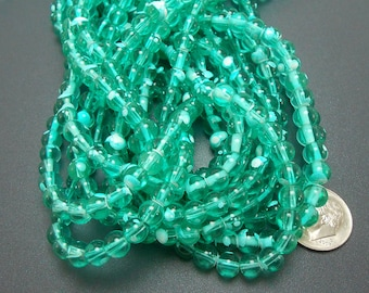 100 Turquoise Glass Beads 6mm (H2026)