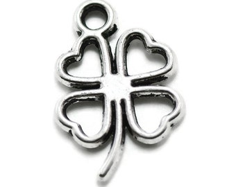 20 Four Leaf Clover Charms Silver Tone Metal (S548-cnt)