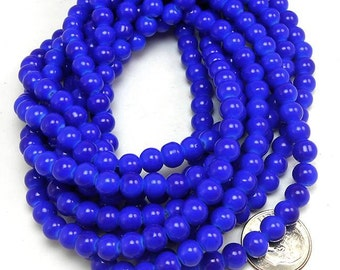 100 Blue Glass Beads 6mm round (H2195)