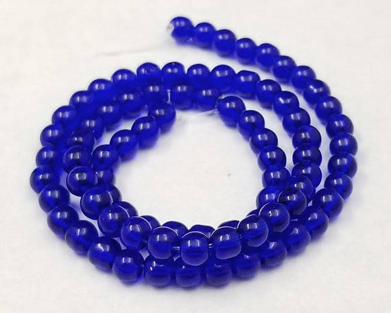 Lot 80 4 mm blue glass beads