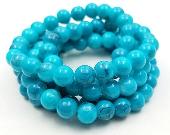 50 Blue Turquoise 8MM Glass Beads (H2550)