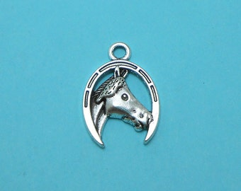 10 Horse Charms Silver Tone horseshoe (S165-cnt)