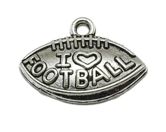 10 Love Football Charms silver tone metal (S440)