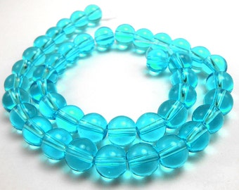 40 Aqua Blue Glass Beads 8mm glass round transparent (H2219)