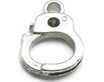 20pc (10 Pair) Handcuff Charms silver tone (S318-cnt)