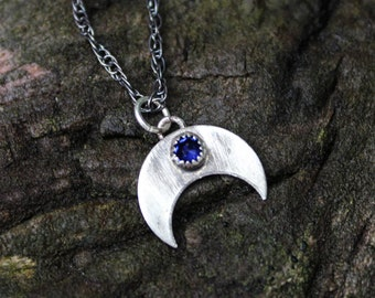 AS seen on TV The CWs Legacies: Season 2 Episode 6 on Freya sterling 12mm crescent moon and  Sapphire Necklace A Wildflowyr ORIGINAL design