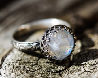 moonstone ring sterling silver hippie  hippy chick 10mm handcrafted any size wiccan pagan magical talisman ring