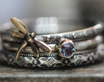 June Alexandrite Dragonfly Ring Set of 3 Spirit Messenger stacking ring set in STERLING silver