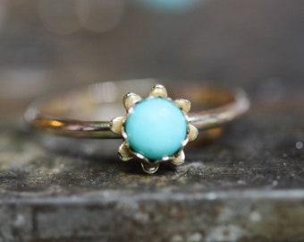 14kt Gold Filled Sunshine blue 5mm TURQUOISE and sold 14kt GOLD ring *Any Size*