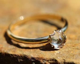 HERKIMER DIAMOND quartz ring 14kt gold filled stacking minimalist ring  any size