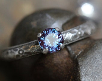 GORGEOUS ALEXANDRITE color changing lab created stone ring SOLID sterling 5mm prong handcrafted ring