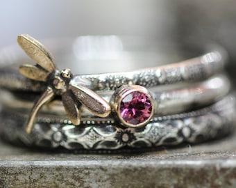 October Tourmaline Dragonfly Ring Set of 3 Spirit Messenger stacking ring set in STERLING silver