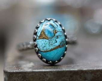 Turquoise Copper OVAL ring sterling silver 14x10mm handcrafted Any Size