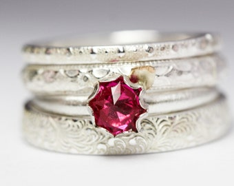 Sterling Silver RUBY flower ring in 14kt  gold-filled and solid sterling silver ring SET of FOUR