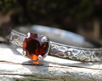 FIRE Citrine and solid STERLING Silver Ring * Any Size * Pretty Autumn ring