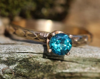 14kt GOLD and 14kt Gold Filled Oceans Teal Topaz Ring with  Hand Stamped Band