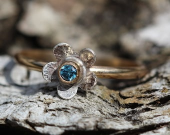 Tiny Diamond Flower Ring in  14kt SOLID gold with 14kt gold filled band and sterling silver with a tiny blue DIAMOND dainty ring any size