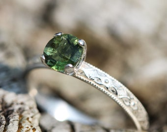 Genuine Czech Republic MOLDAVITE ring sterling silver 6mm  moldavite stacking ring  any size LIMITED SuPPLY In STOCK
