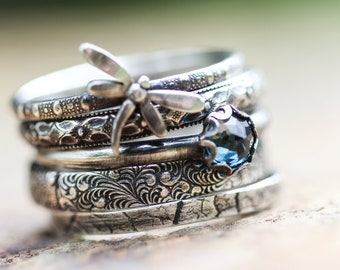 Dragonfly Ring Spirit Messenger with London Blue Topaz stacking ring set  ALL SoLiD STERLING silver Stacking Rings set of FIVE Any size