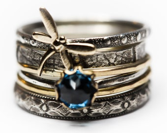 Spirit Messenger London Blue Topaz stacking ring set  gold filled solid sterling silver Stacking Rings set of SIX Any size