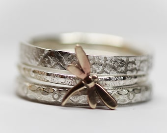Dragonfly Ring Set of THREE Spirit Messenger  stacking ring set  gold filled solid sterling silver Stacking Rings  Any size