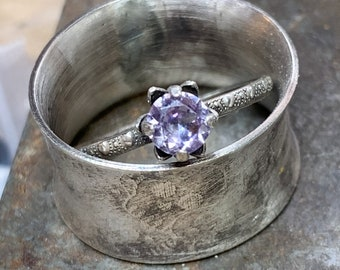 ALEXANDRITE ring color changing Simulated stone ring SOLID sterling 5mm prong flower LILAC handcrafted ring