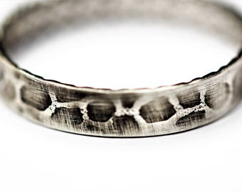 sterling silver giraffe or LEOPARD  pattern stacking ANIMALE thumb ring handcrafted any size