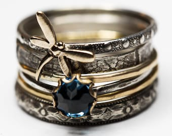Dragonfly Ring Spirit Messenger London Blue Topaz stacking ring set  gold filled solid sterling silver Stacking Rings set of SIX Any size
