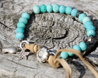 BEACHES summer AMAZONITE and LEATHER boho Bracelet with Sterling and Thai Bali Silver  by Wildflowyr