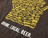 SALE - Drink Local Beer Unisex T-shirt (Dark Charcoal)