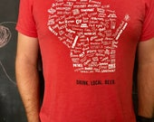 ON SALE- Discontinued Color - Drink Local Beer Unisex T-shirt (Red)