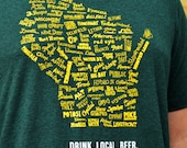 SALE- Drink Local Wisconsin Beer - T-shirt Unisex (Forest green and gold)