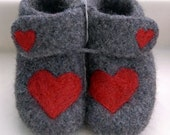Red Hearts on Felted Grey Ankle Booties