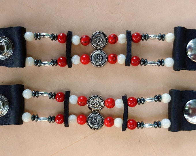 Lady's Red Silver & White Bead Vest Extenders