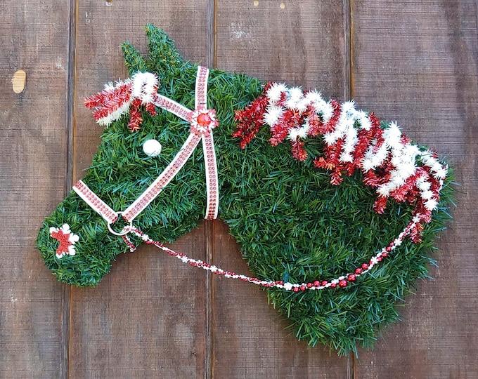 Quarter Horse Head Christmas Wreath