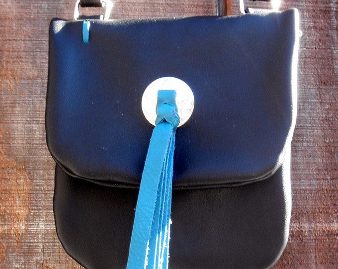Leather Cross Body Bag with Turquoise Accent & 2 Braid Fringe