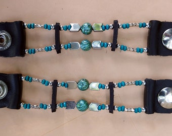 Lady's  Turquoise and Silver Bead Motorcycle Vest Extenders
