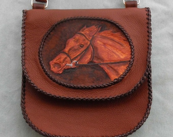 Leather Race Horse Cross Body - Shoulder Bag