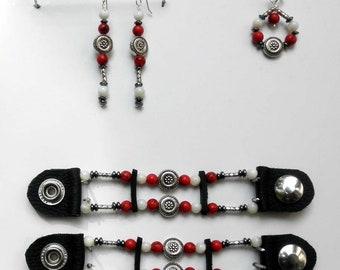 Women's Bead Vest Extender Set With Earrings & Pendant