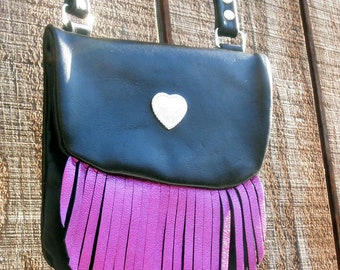 Handmade Leather Cross Body Bag with Metallic Pink Fringe