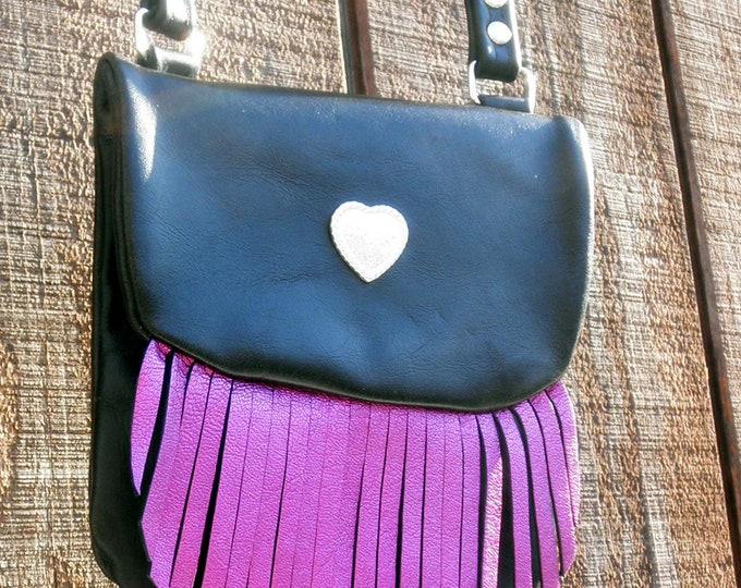 Handmade Leather Cross Body Bag with Metallic Pink Fringe