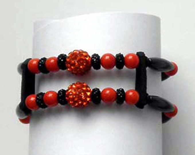 Lady's Bead Bracelet to Match Orange and Black Bead Earrings and Bead Vest Extenders